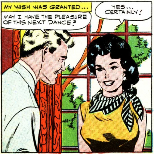 """Vintage art & text. Art by Vince Colletta Studio from the story """"Girl Meets Boy!"""" in FIRST KISS #11, Nov. 1959."""